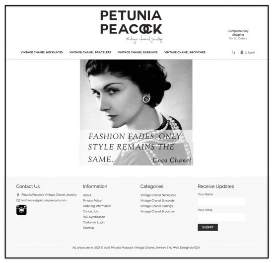 Petunia Peacock BigCommerce Website